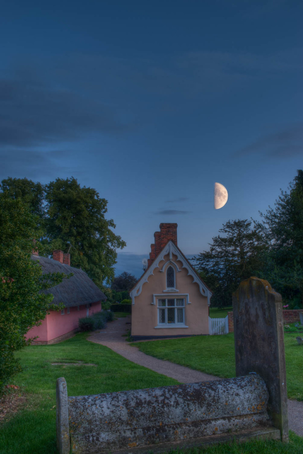 Almshouses and the moon at Thaxted