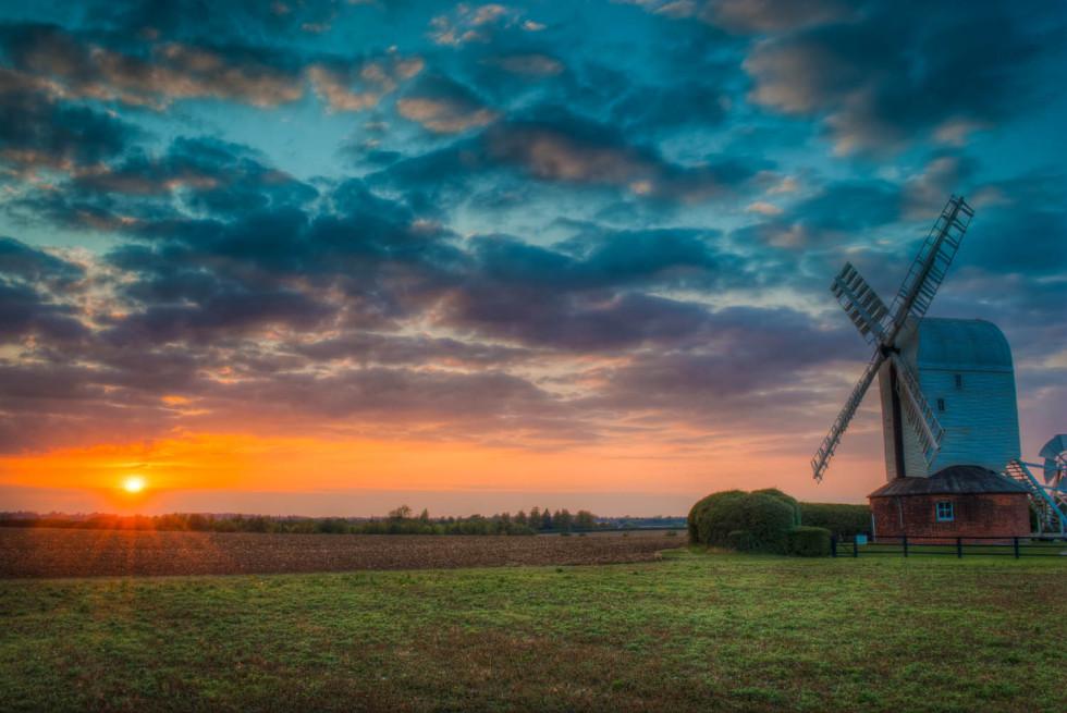 Aythorpe Windmill at Sunset