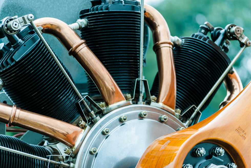 1918 Le Rhone Rotary engine detail