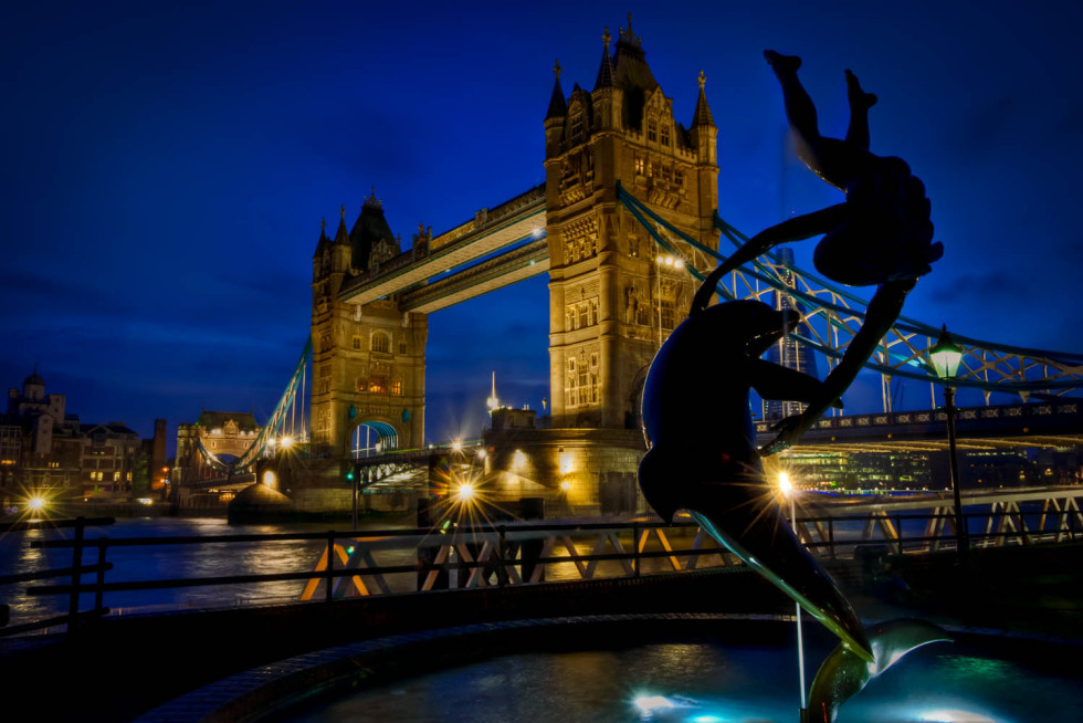 Dolphin Child and Tower Bridge