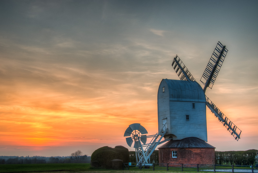 The Windmill at Aythorpe Roding at Sunset