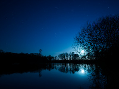 Moonrise on Hatfield Forest Lake