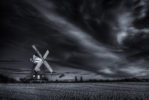 The John Webb windmill in classic black and white view
