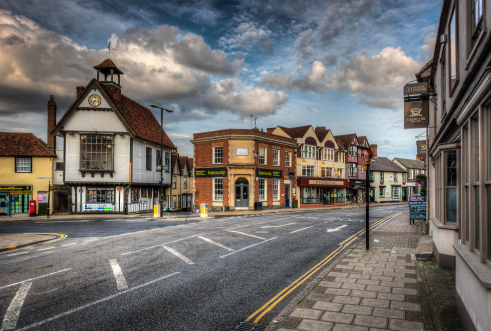 Dunmow High Street and the old Town Hall