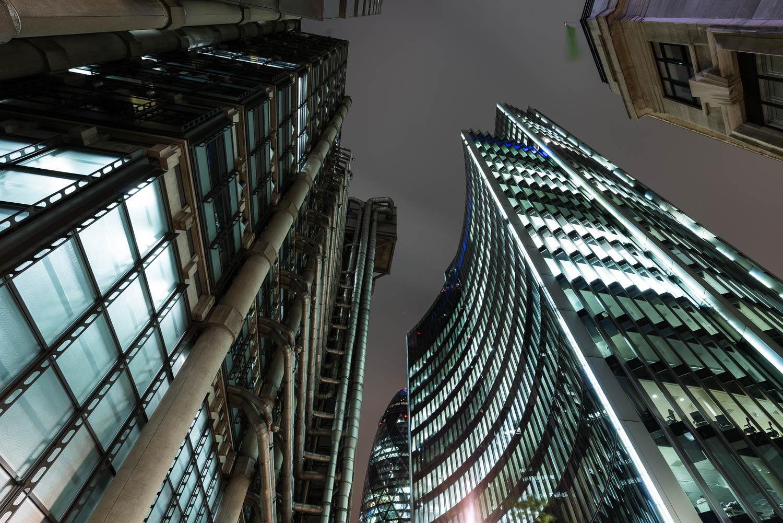 Night Curves - Lloyds Building, the Gherkin