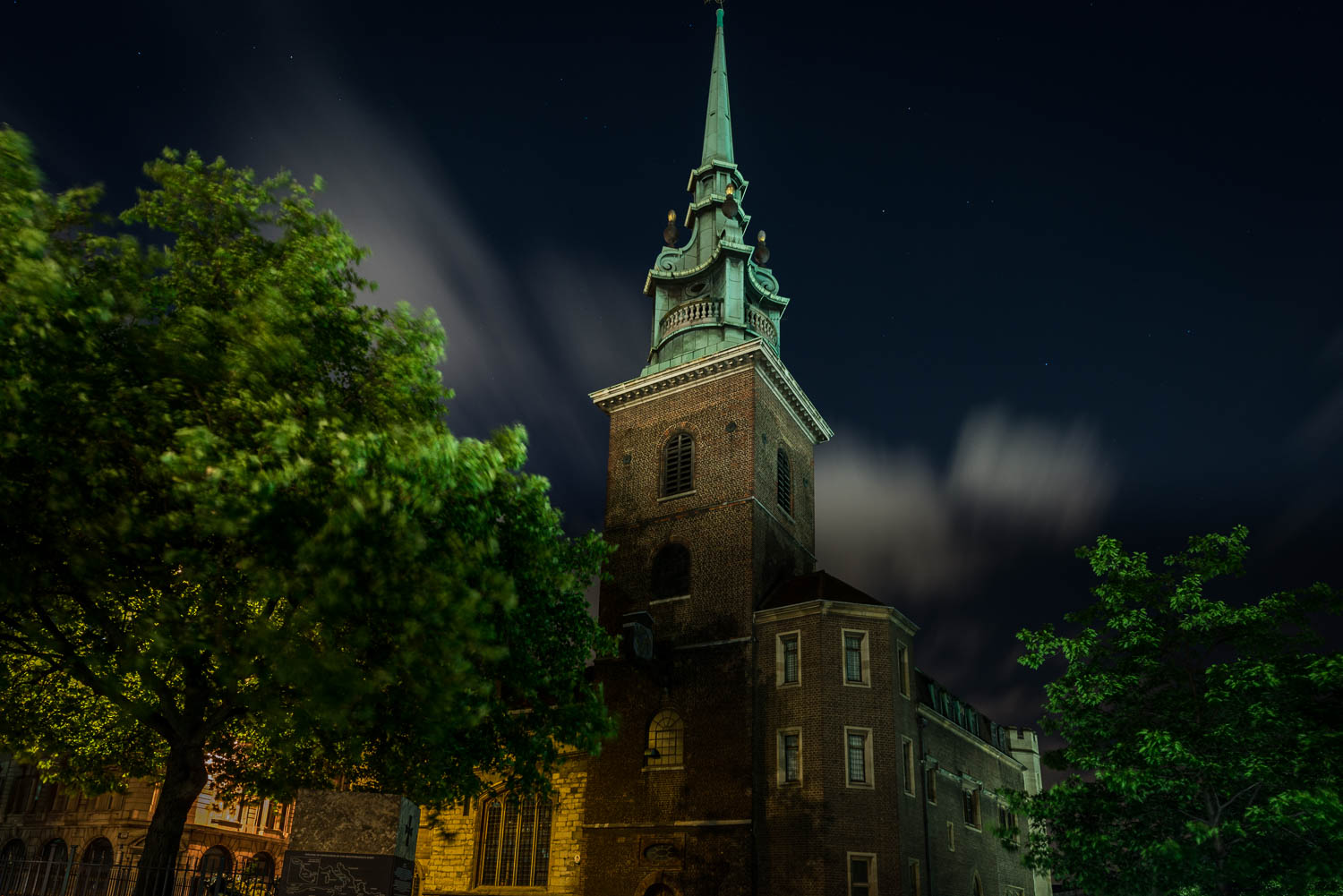 All Hallows By The Tower Church at night City of London