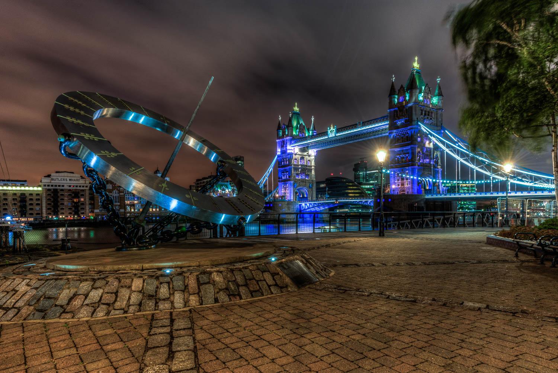 Equinoctial Sundial & Tower Bridge, St Katherines Dock, London