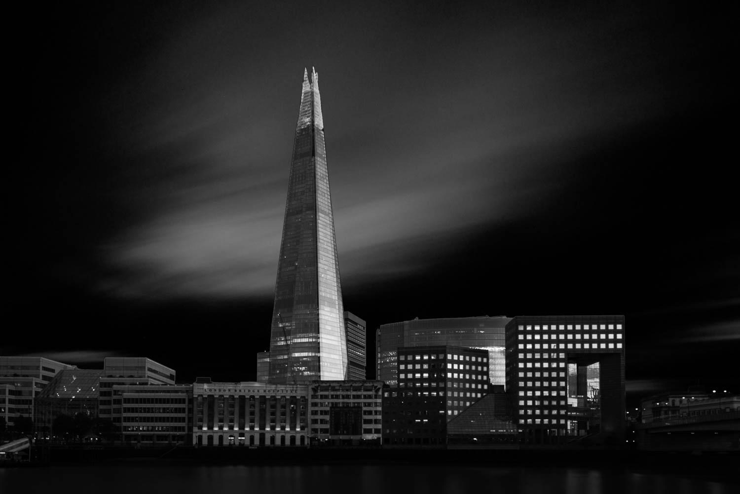 The Shard, London - a black and white long exposure