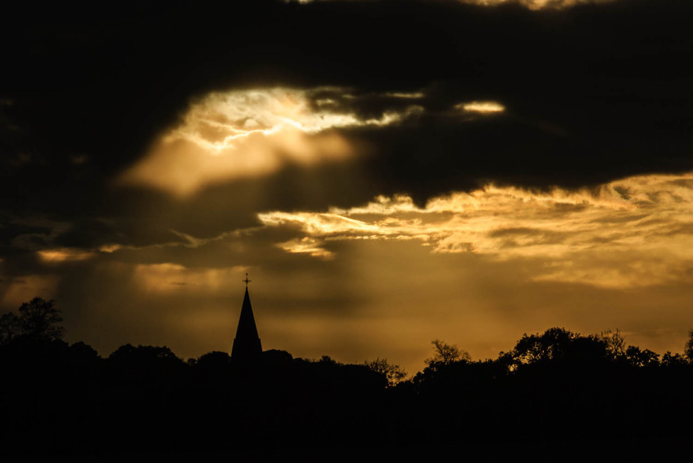 Sunset over All Saints Church Great Leighs