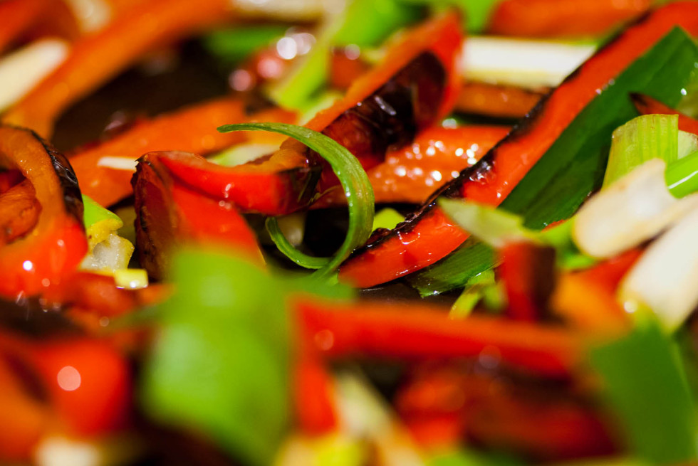 Red Peppers and Spring Onions